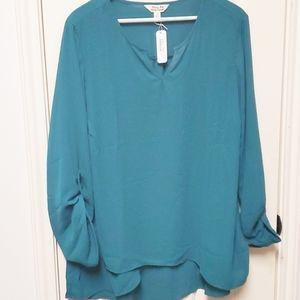 NWT Krazy Kat Tab Sleeve Green Blouse Size 2X